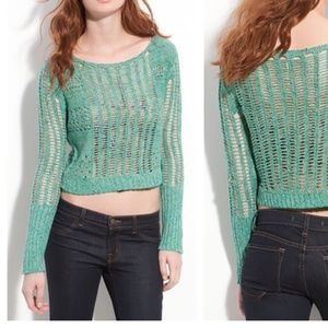 Free People Goccia Turquoise Knit Crop Sweater